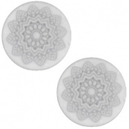 12mm flach Polaris Elements Cabochon Mandala Print matt White grey