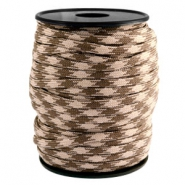Trendy kordel rund Paracord 4 mm Beige-dark brown