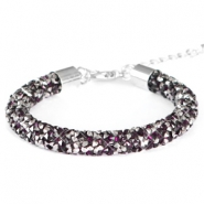 Armband Crystal diamond 8mm Dark amethyst-anthracite