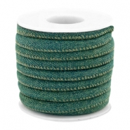 Trendy Kordel Denim 6x4mm gesteppt Dark emerald green