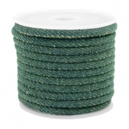 Trendy Kordel Denim 4x3mm gesteppt Dark emerald green
