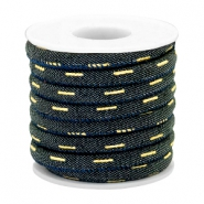 Trendy Kordel Denim 6x4mm gesteppt Indigo night blue-gold