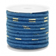 Trendy Kordel Denim 4x3mm gesteppt Midnight blue-gold