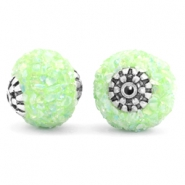Perlen Bohemian 14mm Light green-silver
