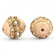 Perlen Bohemian 14mm Light brown-crystal AB-gold