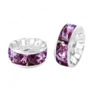 Perlen Strass Rondellen 6mm Silver-light aubergine purple