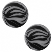 12 mm flach Polaris Elements Cabochon Zebra Silver night
