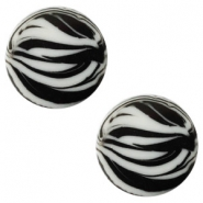 12 mm flach Polaris Elements Cabochon Zebra Ice grey