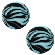 12 mm flach Polaris Elements Cabochon Zebra Soft lagoon blue