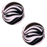 12 mm flach Polaris Elements Cabochon Zebra Lilac purple