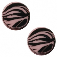 12 mm flach Polaris Elements Cabochon Zebra Taupe brown