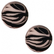 12 mm flach Polaris Elements Cabochon Zebra Greige
