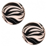 12 mm flach Polaris Elements Cabochon Zebra Rosa pink
