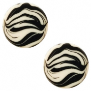 12 mm flach Polaris Elements Cabochon Zebra Silk beige
