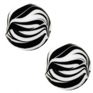 12 mm flach Polaris Elements Cabochon Zebra Bianco white