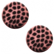 12 mm flach Polaris Elements Cabochon Leopard Peachy coral pink