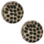 12 mm flach Polaris Elements Cabochon Leopard Light taupe