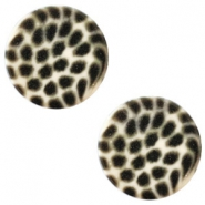 12 mm flach Polaris Elements Cabochon Leopard Silk beige