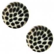 12 mm flach Polaris Elements Cabochon Leopard Light silver shade