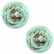 12 mm flach Polaris Elements Cabochon Stone Look Turquoise -brown