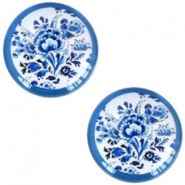 Cabochons Basic Delfts blau Blumen 12mm White-blue