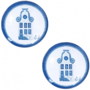Cabochons Basic Delfts blau Haus 20mm White-blue