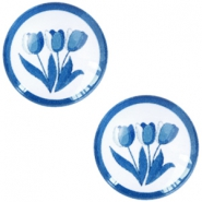 Cabochons Basic Delfts blau Tulpen 20mm White-blue
