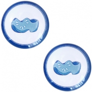 Cabochons Basic Delfts blau Klumpen 20mm White-blue