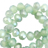 Facetten Top Glas Perlen disc 6x4mm Crysolite green opal-pearl high shine coating