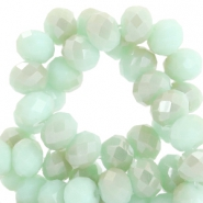 Facetten Top Glas Perlen disc 4x3mm Velvet mint green-half champagne half pearl shine coating