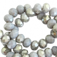 Facetten Top Glas Perlen disc 4x3mm Grey shadow opal-half champagne pearl shine coating