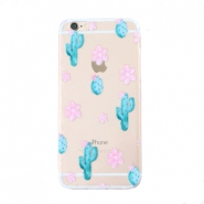 Telefonhüllen für iPhone 6 Cactus & Flowers Transparent-blue pink