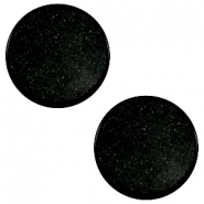 12 mm flach Super Polaris Cabochon Black