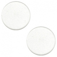 12 mm flach Super Polaris Cabochon White