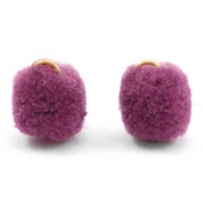Anhänger Pompom mit Öse gold 15mm Heather purple