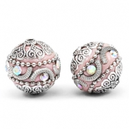 Perlen Bohemian 20mm Light pink-silver