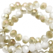 Facetten Top Glas Perlen Rondellen 4x3 mm White-half champagne pearl high shine coating