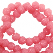 Sparkle beads 8mm Dark rose pink