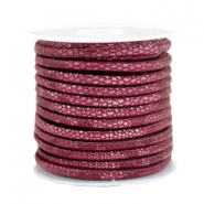 Leder Imitat gesteppt 4x3mm Reptile Mulberry red