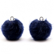Pompom Anhänger 16mm fur faux Dark midnight blue