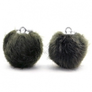 Pompom Anhänger 16mm fur faux Dark olive green