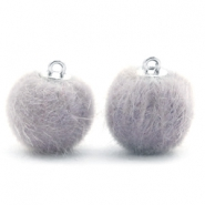 Pompom Anhänger 16mm fur faux Light grey