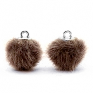 Pompom Anhänger 12mm fur faux Classsic brown
