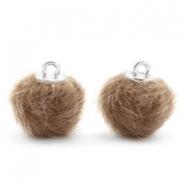Pompom Anhänger 12mm fur faux Timeless taupe