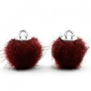 Pompom Anhänger 12mm fur faux Port red