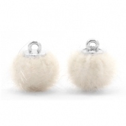 Pompom Anhänger 12mm fur faux Off white