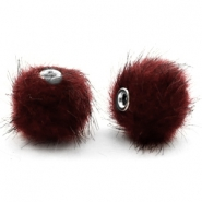 Pompom Perlen 12mm fur faux Port red