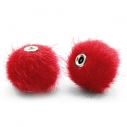 Pompom Perlen 12mm fur faux Scarlet red