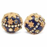 Perlen Bohemian 20mm Dark blue-gold