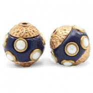 Perlen Bohemian 14mm Dark blue-gold